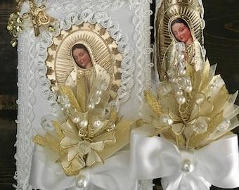 Baptism candle set, Virgen de Guadalupe, Communion Candle Set, Vela de Communion, Vela de Bautizo