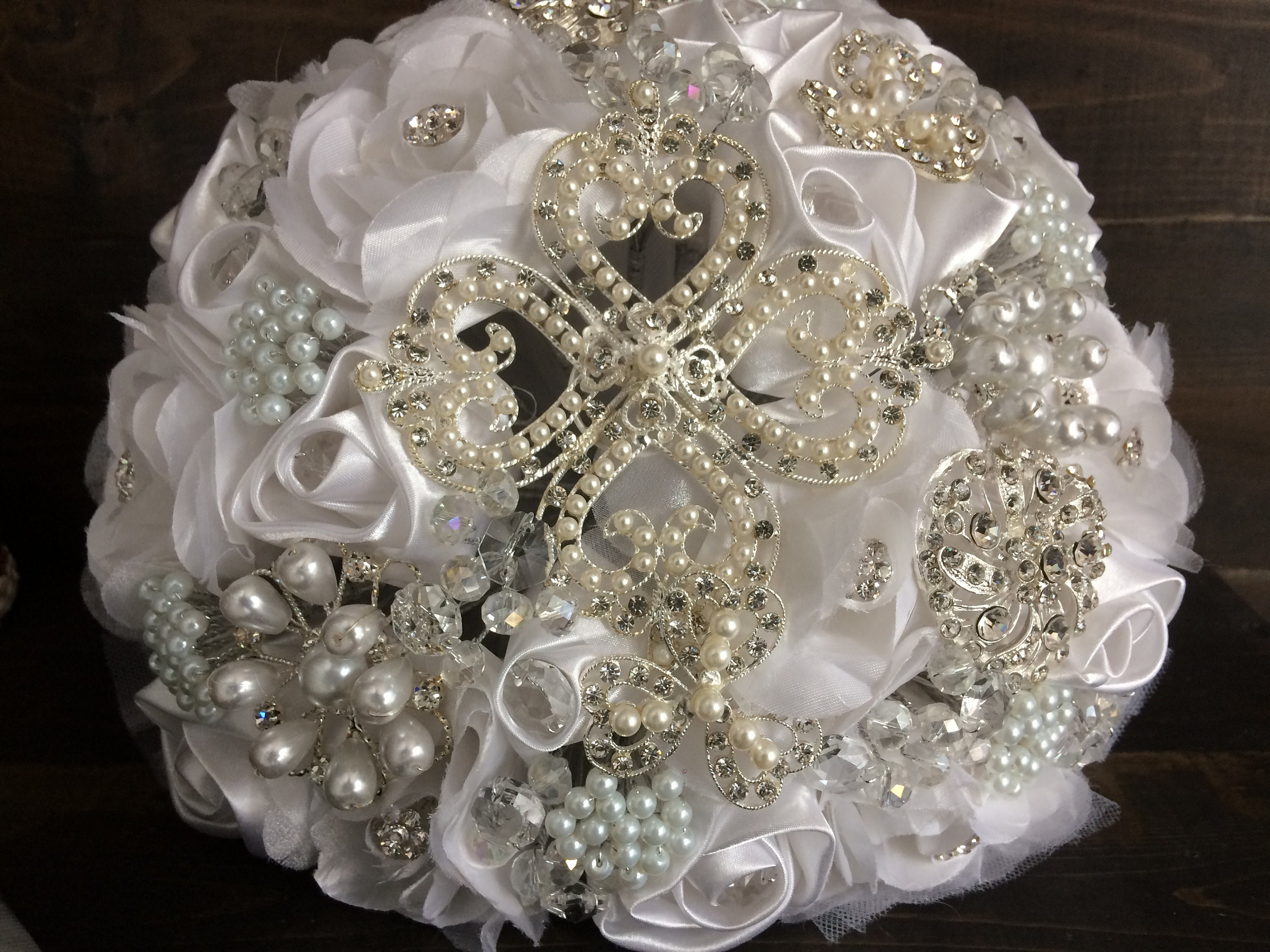 White Silver Wedding Brooch Bouquetquinceanera Bouquetbrooch Etsy