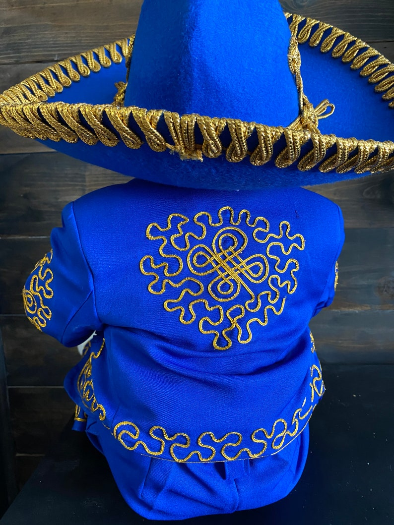 Traje Charro Embroidery Suit mariachi baptism Royal blue gold Baby Mariachi Boy Traditional mariachi christening