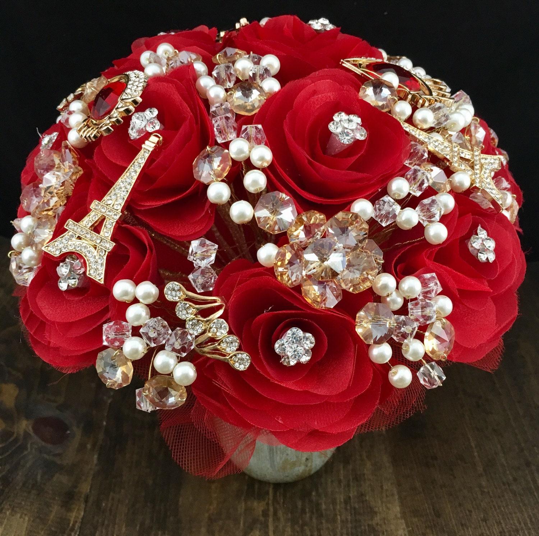 Red parisian wedding bouquet brooch quinceanera bouquet xv etsy image 0 izmirmasajfo