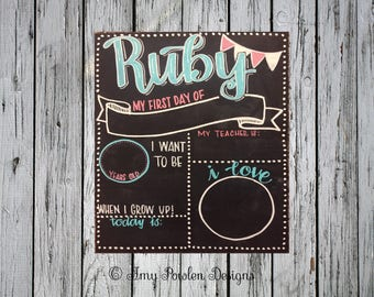 Reusable first day of school chalkboard sign/Personalized photo prop