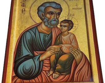Saint St. Joseph - Orthodox Byzantine icon on wood (30cm x 22.2cm)