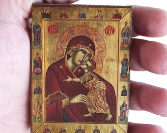 Virgin Mary - Orthodox Byzantine icon on wood (8.4 cm x 6.3 cm)