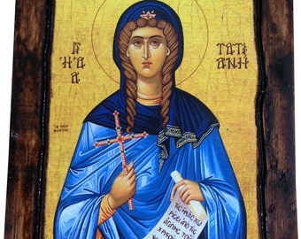Saint St. Tatiana - Orthodox Byzantine icon on wood handmade (22.5cm x 17cm)