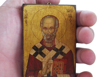 Saint St. Nicholas - Orthodox Byzantine icon on wood (8.4 cm x 6.3 cm)