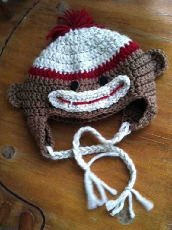 Säugling Sock Monkey Hut Baby Affe Hut häkeln häkeln Socke