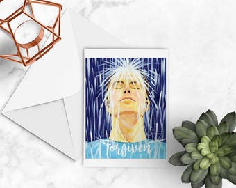 Forgiven Inspirational greeting card of Adult Man in Rain Baptism. Printed from painting. Born Again Christian Easter note card NC142