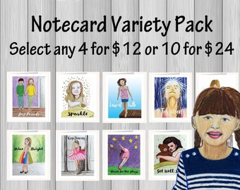 Artistic Note cards w/ envelopes Variety Pack. Inspirational greeting cards printed from drawings of kids and adults. FREE Shipping to US