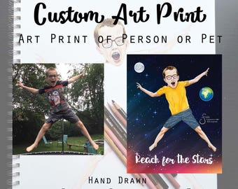 Custom Art Print- Receive an 8x10 Matted hard copy reproduction of a custom drawing (SILVER option). Pet or Person, graphic background.