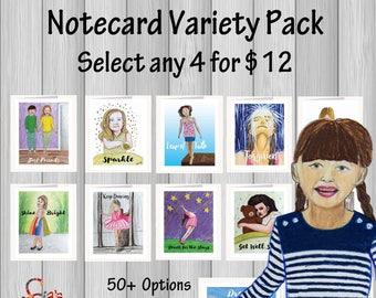 Whimsical Note cards w/ envelopes Variety Pack. Inspirational greeting cards printed from drawings of kids and adults. FREE Shipping to US
