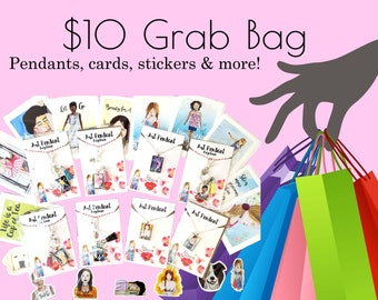 Mystery Grab Bag 10.00 with Pendant, Cards, Stickers & More! 5 items of Inspirational Stationery and Whimsical Designs