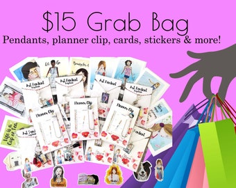 Mystery Grab Bag 15.00 with Pendant, Planner Clips, Cards, Stickers & More! 5 items of Inspirational Stationery and Whimsical Designs