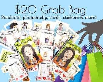Mystery Grab Bag 20.00 with Journal, Pendant, Planner Clip, Card, & Sticker! 5 items of Inspirational Stationery and Whimsical Designs