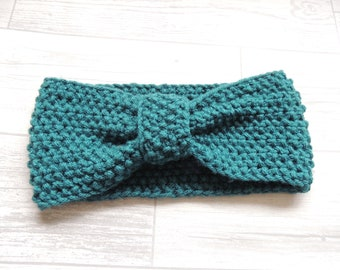 Knitted knotted Headband/turban Teal Green Retro Vintage Style
