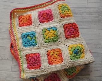 Baby blanket - rainbow squares