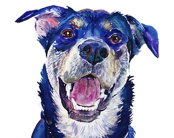 Custom Pet Portrait Watercolor - Pet  Portrait  - Original Watercolor Painting -  Dog Painting -  pet lover painting handmade wall art gift