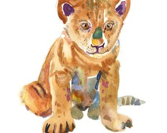 Lion Cub -  Watercolor Painting - Animal Painting  - Animal Art Print - Nursery  Art