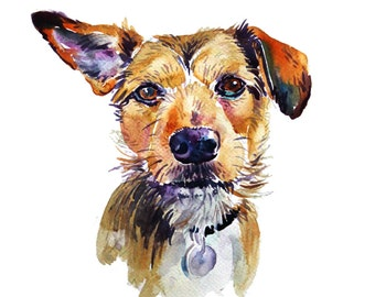 Pet Portrait, Custom Pet Portrait, Custom Portraits,  Original Painting,Dog Art,  Watercolor Painting - Gift Art - Dogs