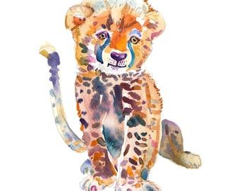 Cheetah  Cub -  Watercolor Painting - Animal Painting  - Animal Art Print - Nursery  Art