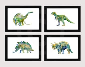 Dinosaurs, Watercolor Paintings,  Dinosaur Collection, Dinosaur Prints  Apatosaurus, Tyrannosaurus,Stegosaurus and Triceratops Nursery Art