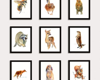 Woodland Collection - Buy 6 and Get  3 Free - Animal Paintings  - 8x10inchs - Watercolor  Paintings - Nursery Art Prints
