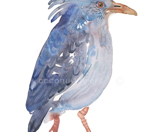 Children's Art - Watercolor Painting - Animal Painting - Size 8x10in  -  Animal Art Print - Kagu
