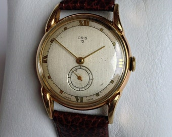 Outstanding 1940s Oris Art Deco style vintage Swiss watch