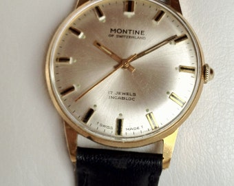 Lovely Montine of Switzerland 17 jewel manual wind gold plate Incabloc vintage mens wrist watch in lovely running order.