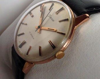 Lovely 1950s Timor 17 Jewel mens rose gold filled vintage Swiss manual wind watch in great working order