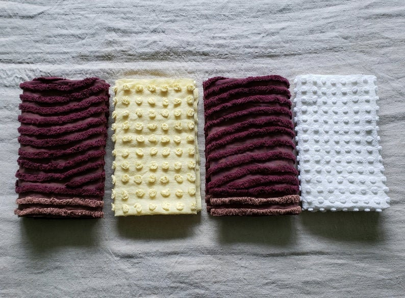 Vintage Chenille Fabric Fat Quarters 18 x 22 Inches Set of 4 Craft Pieces Bedspread Cutters Assorted Colors White Yellow Dark Burgundy LOT 8