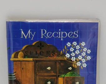 Vintage recipe book with recipe cards