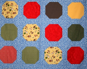 Puppy Fun Red Green Yellow Blue Baby Quilt