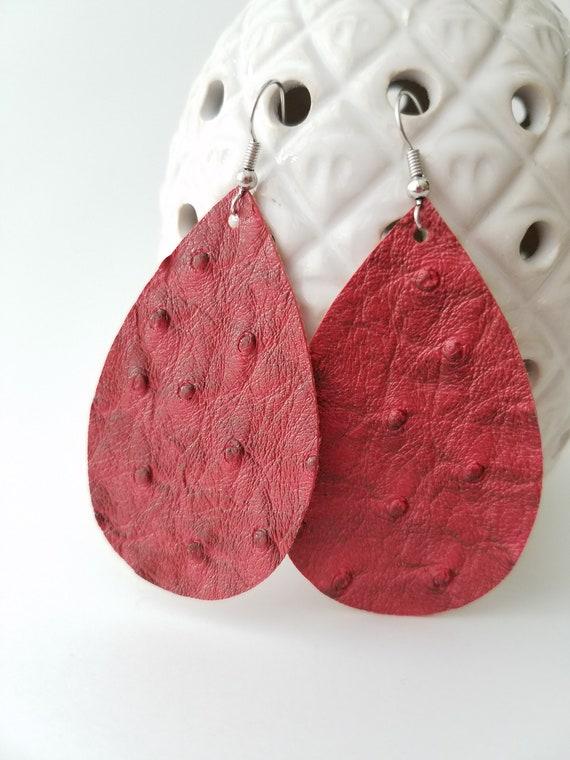 Maroon Teardrop Earrings Oval Leather Earrings Faux Leather Earrings