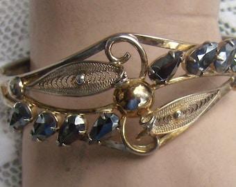 Vintage SORRENTO Sterling Black Diamond Bangle Bracelet...Gold Gilt Wash..Sterling Safety Chain...8 Black Diamonds