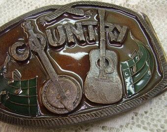 Vente... Boucle de ceinture vintage Country Music métal émaillé...  Artisanat métal Indiana... 1976.. « Froz n couleur autocollant... Banjo  guitare 9db116bd575
