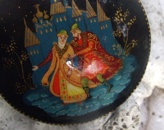 Vintage Signed Hand Painted Russian Brooch...Black