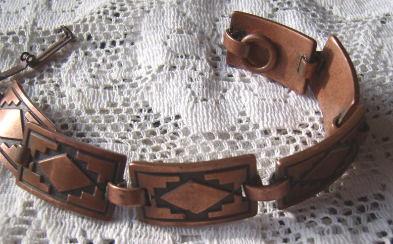 Vintage Southwestern Copper Link Panel Bracelet....Native American Jewelry...Native Design Panels