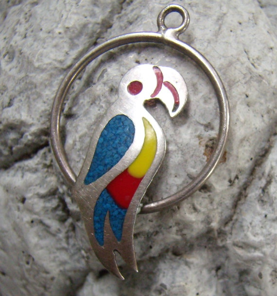 Vintage Sterling Silver Parrot Pendant...Multi Col