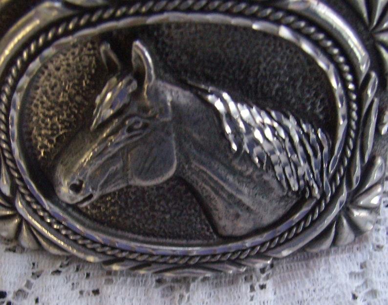 Vintage Pewter Horse Head Belt Buckle...Marked Number 4...Made in USA....Ornate Borders...Western Wear