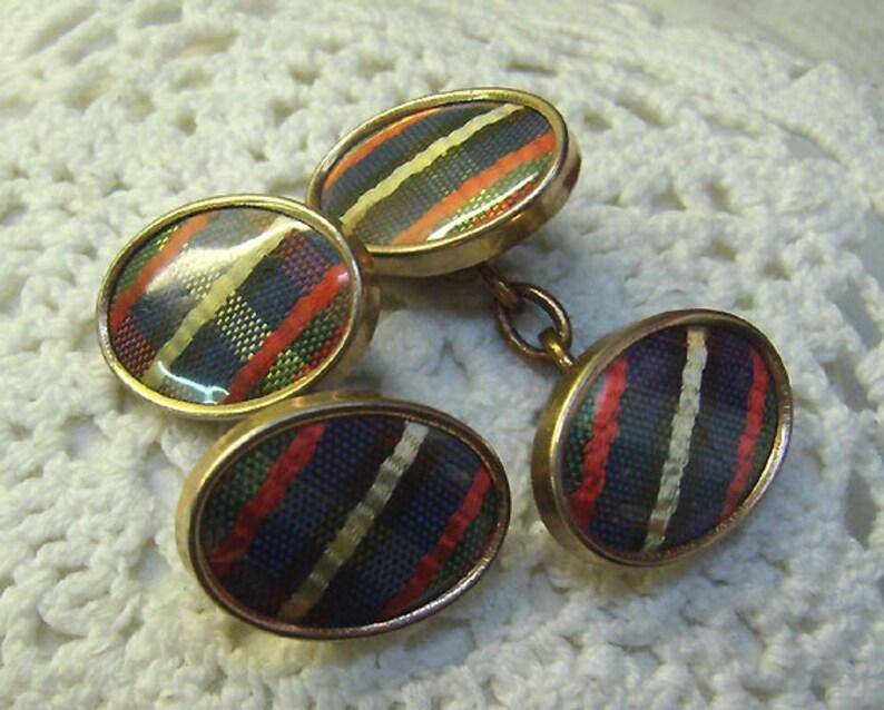 Oval SCOTTISH Two Sided Cufflinks...Scottish Accessories Reduced...Vintage Scottish Plaid Tartan Chain Link Cufflinks..