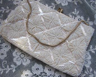 "Vintage ""Goldco"" White Beaded Evening Handbag....Made in Hong Kong....Gold Chain...Evening Purse...Wedding"