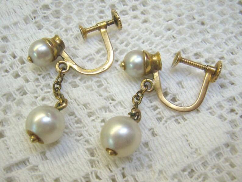de1acc6ed Vintage 10K Gold Genuine Pearl Screw Back Earrings...4 Genuine | Etsy