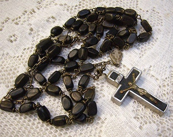 Vintage Inlaid Reliquary Crucifix...Wooden Beads...ROMA Rosary...Made in Italy...58 Beads...Repair/Salvage