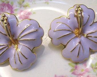 Vintage Lavender Enamel Orchid Post Earrings...Vintage Flower Jewelry....Mauve Orchid Jewelry