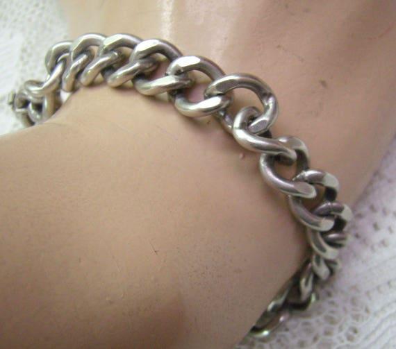 Vintage Sterling Silver Link Chain Bracelet