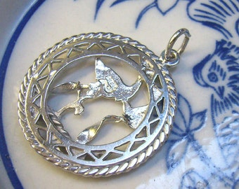 """Vintage Sterling Silver Birth Charm...""""STORK And BABY""""...Cut Out Stork...Baby Gift...Celebration...Birthday Charm"""