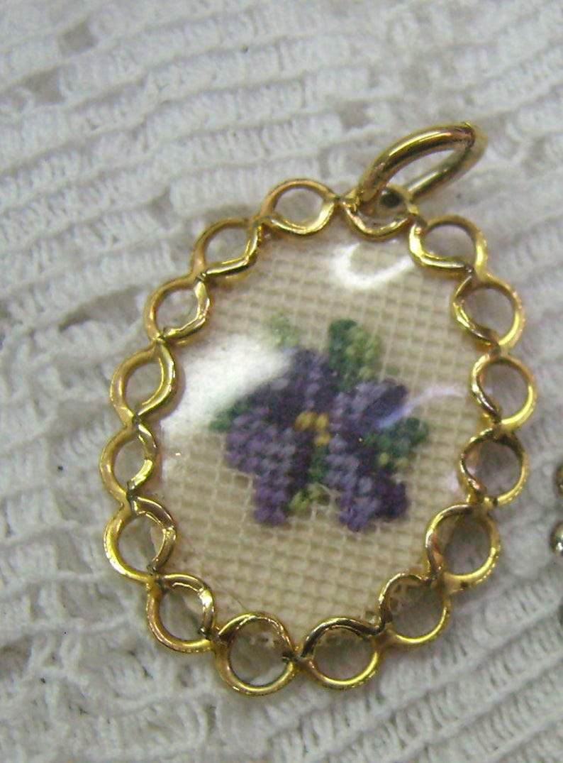 Vintage Petit Point Purple Flower Charm...Gold Scalloped Border...Handcrafted  CharmPendant...Embroidered Flower