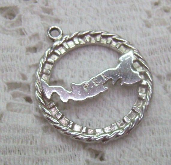 Green Enamel Map of Prince Edward Island Sterling Silver Vintage Charm For Bracelet