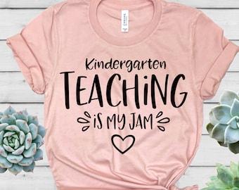 1ce462f6 Kindergarten Teaching Is My Jam Shirt - Teacher Shirt - Teacher T Shirt - Teacher  Gift - Teacher Shirt for Women - HeartYourTees