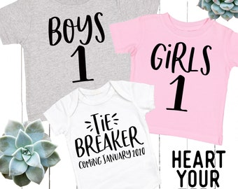 216cc2aa Boy - Girl - Tiebreaker Bodysuits and Tees - Toddler and Infant Shirts -  Cute Kid's Tees - Pregnancy Announcement Picture - NB to Y-Sizes